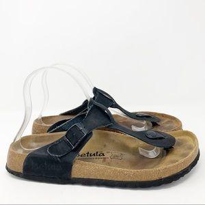 Birkenstock Gizeh Black Leather Sandals Size 41